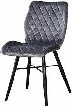 Chaise Dom tissu croisillons gris - Gris