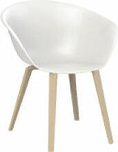 Chaise Duna 02 / Pieds bois - Arper blanc/bois