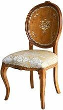 Chaise élégante dossier médaillon en bois peint