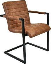 Chaise en cuir de style industriel et vintage