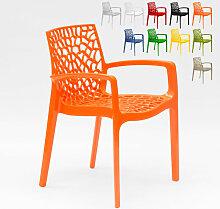Chaise en polypropylène accoudoirs jardin café