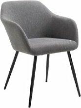 Chaise en tissu gris foncé ENEGO fauteuil de