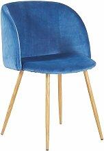 Chaise en tissu velours retro bleu,Fauteuil salle
