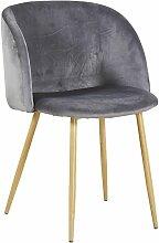Chaise en tissu velours retro gris,Fauteuil salle