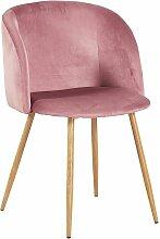 Chaise en tissu velours retro rose rouge,Fauteuil