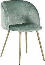 Chaise en tissu velours retro vert,Fauteuil salle
