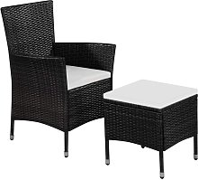 Chaise et tabouret d'extérieur et coussins