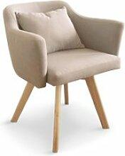 Chaise / fauteuil scandinave dantes tissu beige