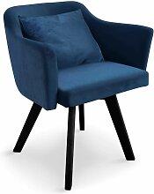 Chaise / Fauteuil scandinave Dantes Velours Bleu -