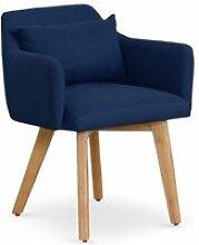 Chaise / fauteuil scandinave gybson tissu bleu
