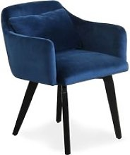 Chaise / fauteuil scandinave gybson velours bleu