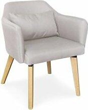 Chaise / fauteuil scandinave shaggy tissu beige