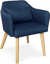 Chaise / Fauteuil scandinave Shaggy Tissu Bleu -