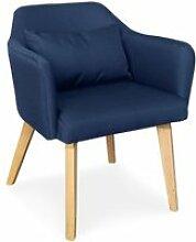 Chaise / fauteuil scandinave shaggy tissu bleu