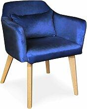 Chaise / Fauteuil scandinave Shaggy Velours Bleu -