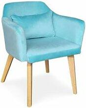 Chaise / fauteuil scandinave shaggy velours menthe