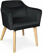 Chaise / fauteuil scandinave shaggy velours noir