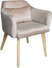 Chaise / fauteuil scandinave shaggy velours taupe