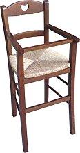 Chaise haute BIMBO avec assise en paille et