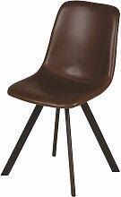 Chaise imitation cuir marron