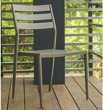 Chaise jardin empilable aluminium beige - Gabin