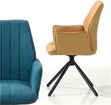 Chaise jaune pivotante moderne KOOK (lot de 2)