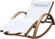 Chaise longue à bascule bois blanc