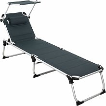 Chaise longue aluminium Bari XXL 210cm pare-soleil
