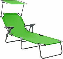 Chaise longue avec auvent Acier Vert