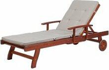 Chaise longue avec coussin assise gris-beige
