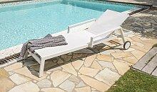 Chaise longue blanche sur roulettes - Ibiza