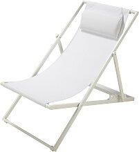Chaise longue / chilienne pliante en métal blanc