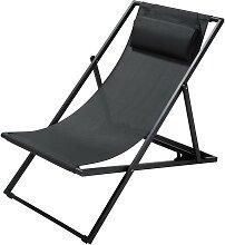 Chaise longue / chilienne pliante en métal gris