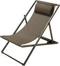 Chaise longue / chilienne pliante en métal taupe