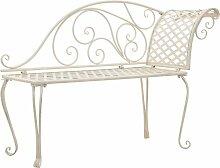 Chaise longue de jardin 128 cm Metal Antique Blanc