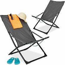 Chaise longue jeu de 2, pliable, de camping,