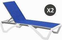 Chaise longue moderne blanche et bleu - Riga