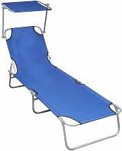 Chaise longue pliable avec auvent Bleu Aluminium
