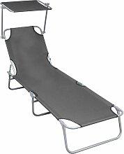 Chaise longue pliable avec auvent Gris Aluminium