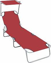 Chaise longue pliable avec auvent Rouge Aluminium