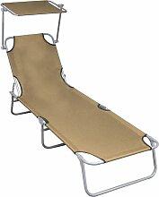 Chaise longue pliable avec auvent Taupe Aluminium