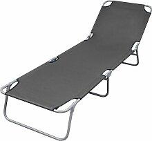 Chaise longue pliable avec dossier réglable Gris
