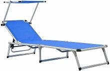Chaise longue pliable avec toit Aluminium et