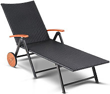 Chaise longue polyrotin structure alu roues en