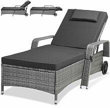 Chaise longue pour jardin gris 193cm bain de