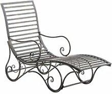 Chaise longue pour jardin transat en métal bronze
