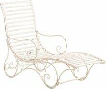 Chaise longue pour jardin transat en métal crème