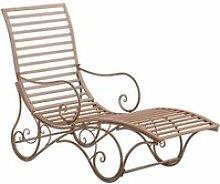 Chaise longue pour jardin transat en métal marron