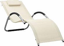Chaise longue Textilene Creme et gris