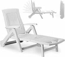 Chaise longue Zircone pliable blanc plastique PVC